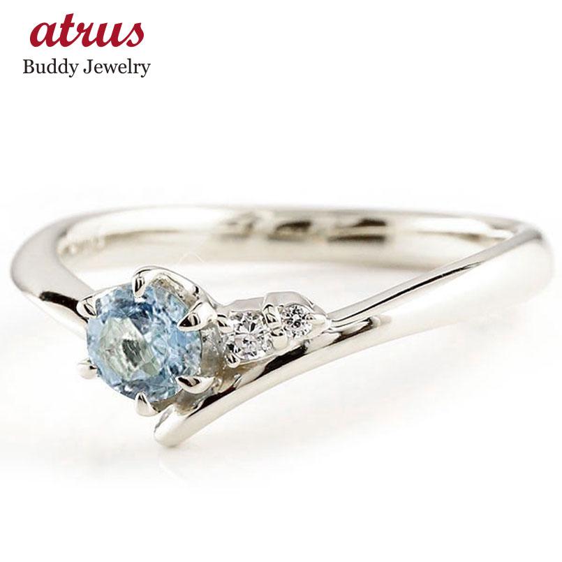 サンタアクアマリン シルバーsv925リング ダイヤモンド 指輪 ピンキーリング 一粒 大粒 sv925 レディース 3月誕生石
