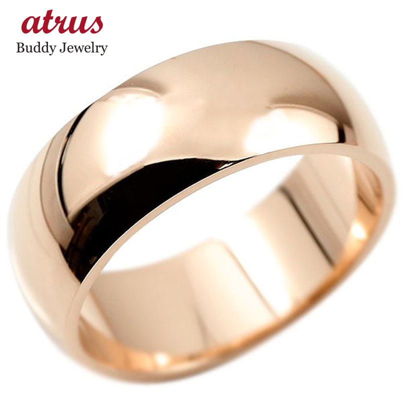 指輪 ピンクゴールドk18 幅広 リング 鍛造 たんぞう 地金 リング シンプル 宝石なし レディース 地金 ピンキーリング リング