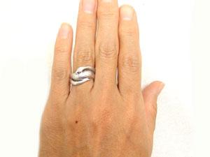 【送料無料】ルビーホワイトゴールドK18白蛇指輪 小指用にも【工房直販】
