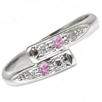 【送料無料】ピンキーリングホワイトゴールドk10ピンクサファイアダイヤモンド0.08ct指輪 小指用にも【工房直販】