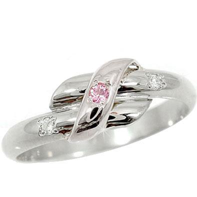 【工房直販】ピンキーリング:ピンクサファイア:ダイヤモンド:ホワイトゴールドK18:指輪:特別価格【送料無料】