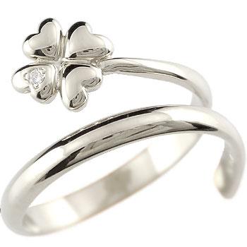 クローバー 四葉 プラチナ ダイヤモンド リング 指輪