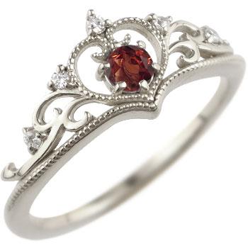 ティアラ リング 指輪 ダイヤモンド ガーネット ミル打ち 1月誕生石 ホワイトゴールドk18