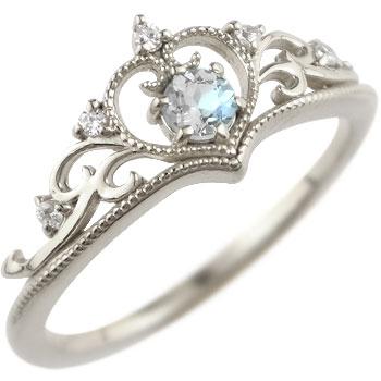 ティアラ リング 指輪 ダイヤモンド ブルームーンストーン ミル打ち 6月誕生石 ホワイトゴールドk18