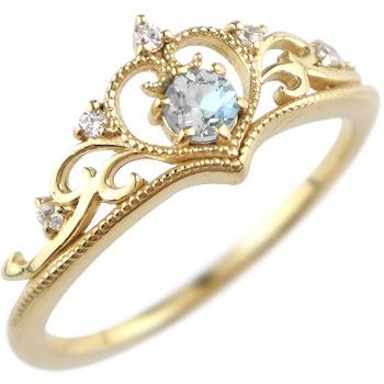ティアラ リング 指輪 ダイヤモンド ブルームーンストーン ミル打ち 6月誕生石 イエローゴールドk18