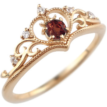 ティアラ リング 指輪 ダイヤモンド ガーネット ミル打ち 1月誕生石 ピンクゴールドk18