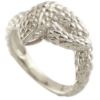 スネークリング 蛇 指輪 ピンキーリング ホワイトゴールドk18