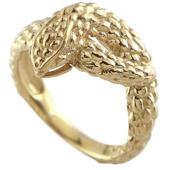 スネークリング 蛇 指輪 ピンキーリング イエローゴールドk18