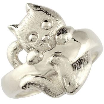 猫 リング 指輪 ピンキーリング ホワイトゴールドk18