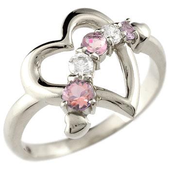 オープンハート プラチナ リング ピンクトルマリン ダイヤモンド 指輪 ピンキーリング