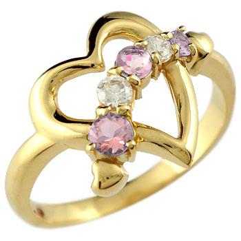 オープンハート リング ピンクトルマリン ダイヤモンド 指輪 イエローゴールドk18