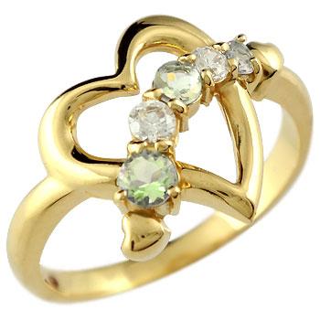 オープンハート リング ペリドット ダイヤモンド 指輪 イエローゴールドk18