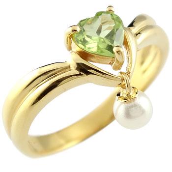 ハート リング ペリドット パール 指輪 イエローゴールドk18