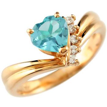 ハート リング ブルートパーズ ダイヤモンド 指輪 ピンクゴールドk18