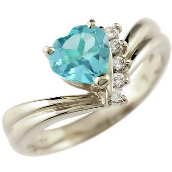 ハート プラチナ リング ブルートパーズ ダイヤモンド 指輪