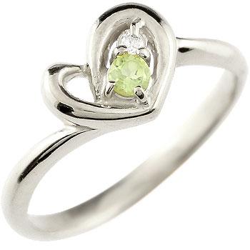 オープンハート プラチナ リング ペリドット ダイヤモンド 指輪 ピンキーリング 8月誕生石