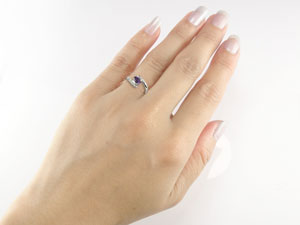 指輪,天然ダイヤモンド,アメジスト,ホワイトゴールドK18
