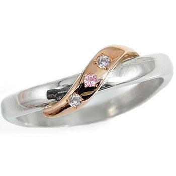 【工房直販】ピンキーリング:ダイヤモンド:ピンクサファイア:プラチナ900:ピンクゴールドK18:コンビネーションリング:指輪:PT900:K18PG:特別価格【送料無料】