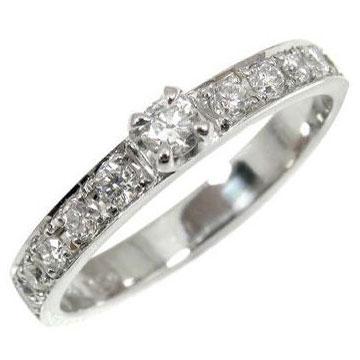 【送料無料】ダイヤモンドリング0.30ct指輪k18wg 小指用にも【工房直販】