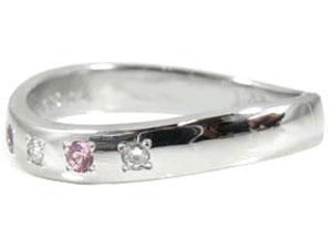 【送料無料】ピンクサファイアダイヤモンドリングホワイトゴールドK18指輪 小指用にも【工房直販】