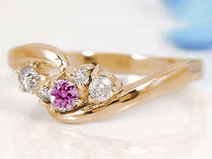 【送料無料】ピンクサファイア,天然ダイヤモンドピンクゴールドk10リング 小指用にも【工房直販】