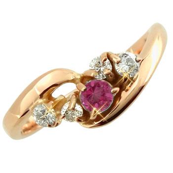 【送料無料】ピンキーリング:ルビーダイヤモンドリング:ピンクゴールドk18:指輪:k18pg【工房直販】