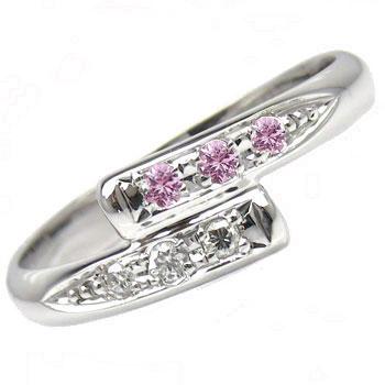 【送料無料】ピンキーリングホワイトゴールドK18ピンクサファイアダイヤモンド0.05ct指輪 小指用にも【工房直販】