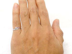 【送料無料】ピンキーリングホワイトゴールドK18ピンクサファイアダイヤモンド0.04ct指輪 小指用にも【工房直販】