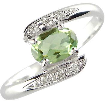 ペリドット ダイヤモンド プラチナ リング 指輪 8月誕生石
