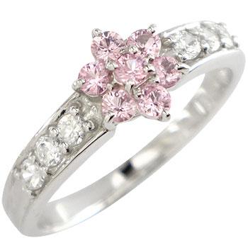 ピンクサファイア ダイヤモンド プラチナ リング 指輪 花 フラワー