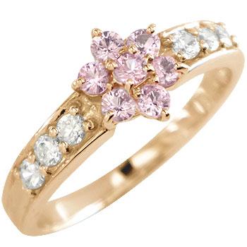 ピンクサファイア ダイヤモンド リング 指輪 花 フラワー ピンクゴールドk18