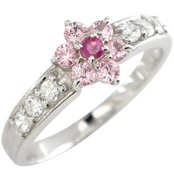 ピンクサファイア ルビー キュービックジルコニア リング 指輪 シルバー925 花 フラワー