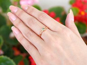 ハート リング ペリドット ダイヤモンド 指輪 ピンキーリング ピンクゴールドk18