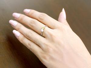 ペリドット ベビーパール リング 指輪 ピンキーリング ホワイトゴールドk18