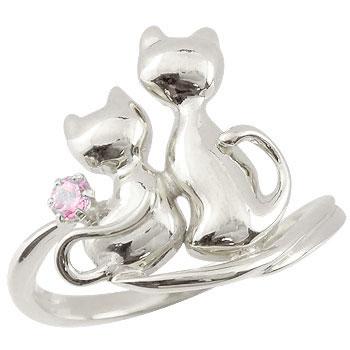 猫 プラチナ リング ピンクサファイア 指輪 9月誕生石