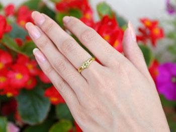 ハート リング ペリドット ダイヤモンド 指輪 ピンキーリング イエローゴールドk18