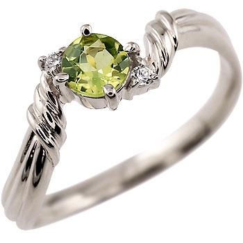ペリドット リング ダイヤモンド 指輪 ピンキーリング ホワイトゴールドk18 8月誕生石