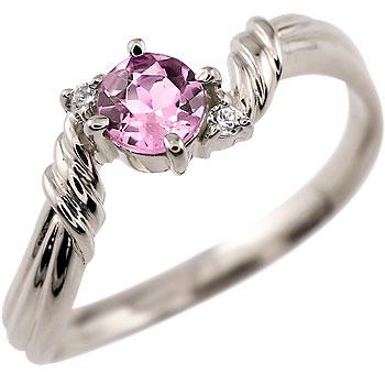 ピンクサファイア リング ダイヤモンド 指輪 ピンキーリング ホワイトゴールドk18 9月誕生石