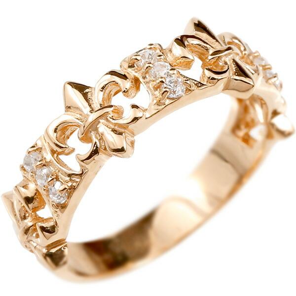 婚約指輪 リング ピンクゴールドk10 ダイヤモンド ユリの紋章 エンゲージリング 指輪 ピンキーリング フルール・ド・リス 宝石 レディース