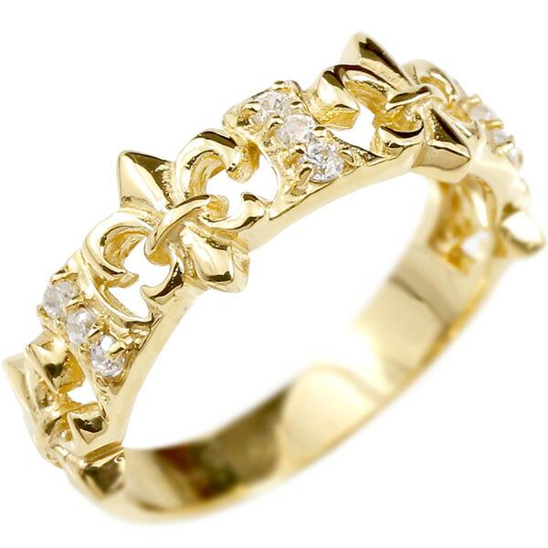 婚約指輪 リング イエローゴールドk10 キュービックジルコニア ユリの紋章 エンゲージリング 指輪 ピンキーリング フルール・ド・リス レディース