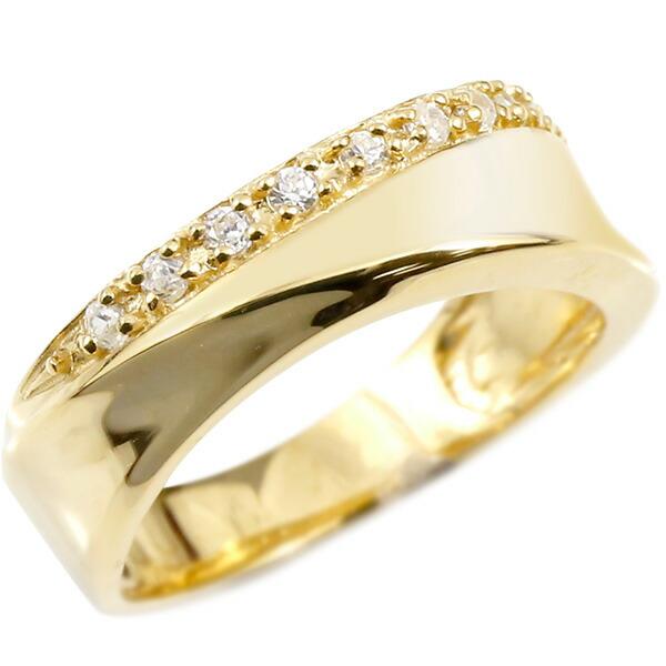 婚約指輪 リング イエローゴールドk18 キュービックジルコニア クロス エンゲージリング 指輪 ピンキーリング 十字架 レディース