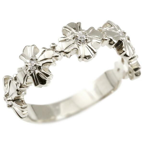 婚約指輪 リング シルバー925 ダイヤモンド クロス エンゲージリング 指輪 ピンキーリング 十字架 宝石 レディース