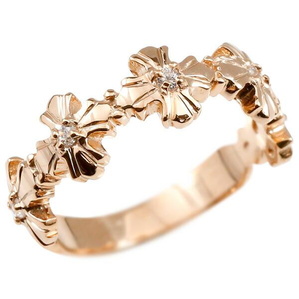 婚約指輪 リング ピンクゴールドk10 ダイヤモンド クロス エンゲージリング 指輪 ピンキーリング 十字架 宝石 レディース