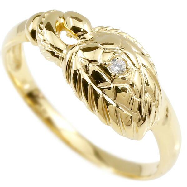 婚約指輪 リング イエローゴールドk18 ダイヤモンド カメ エンゲージリング 指輪 ピンキーリング 亀 かめ 宝石 レディース