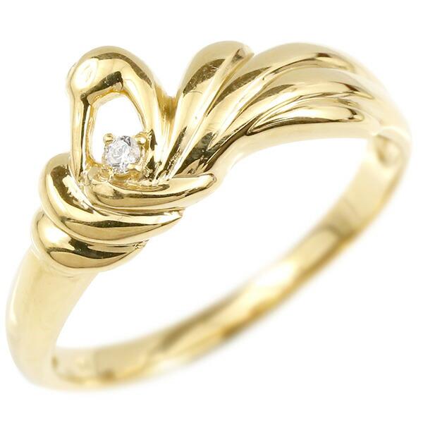 婚約指輪 リング イエローゴールドk10 ダイヤモンド ツル エンゲージリング 指輪 ピンキーリング 鶴 つる 宝石 レディース