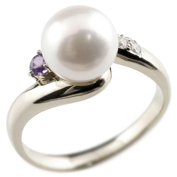 ピンキーリング 真珠 パール アメジスト ホワイトゴールドk10 リング キュービックジルコニア キュービック 指輪