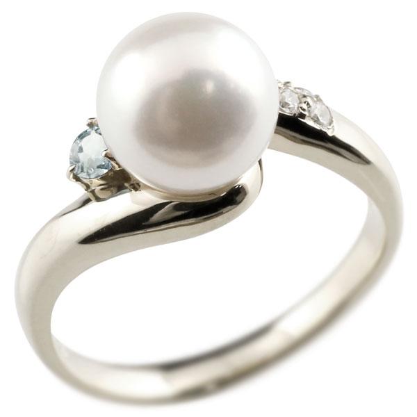 ピンキーリング 真珠 パール アクアマリン ホワイトゴールドk18 リング キュービックジルコニア キュービック 指輪