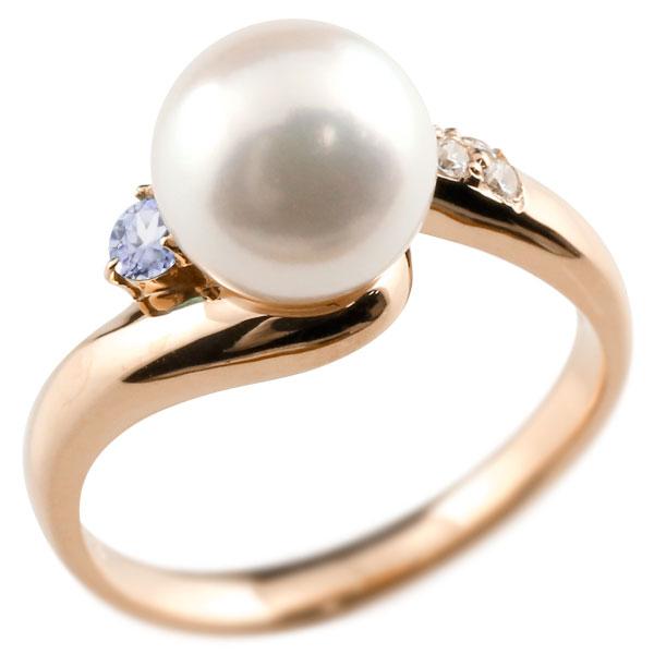 ピンキーリング 真珠 パール タンザナイト ピンクゴールドk18 リング ダイヤモンド ダイヤ 指輪