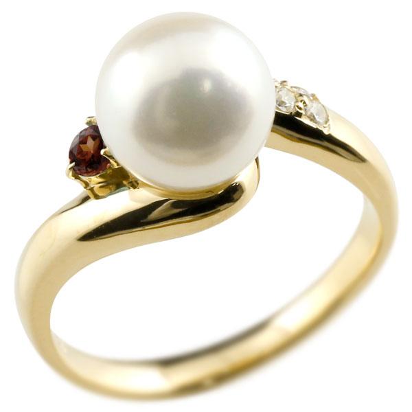 ピンキーリング 真珠 パール ガーネット イエローゴールドk18 リング キュービックジルコニア キュービック 指輪