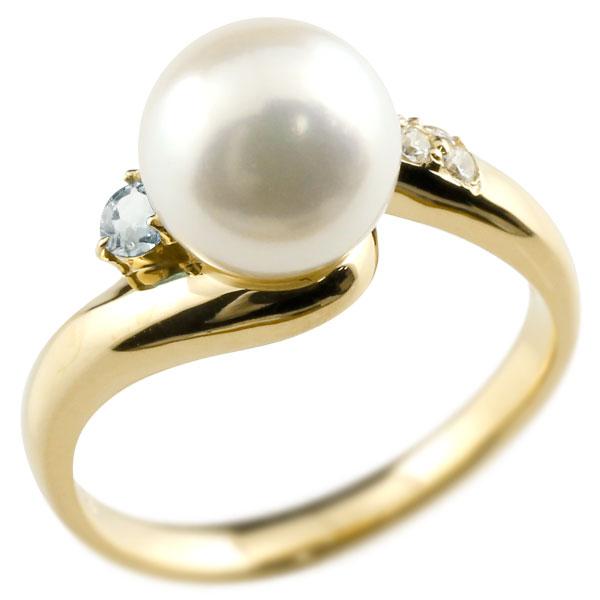 ピンキーリング 真珠 パール アクアマリン イエローゴールドk10 リング ダイヤモンド ダイヤ 指輪